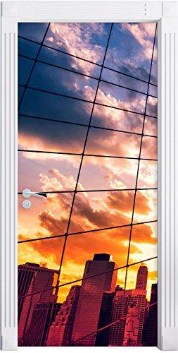 Manhattan al tramonto come Murale, Formato: 200x90cm, telaio della porta, adesivi porta, porta decorazione, autoadesivi del