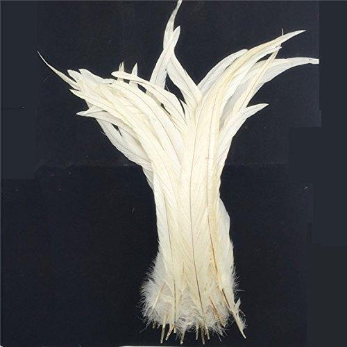 Preisvergleich Produktbild Sharplace 10pcs Hahnenfedern Flügelfedern Hahn Federn Feather Schmuckfeder DIY 35-40cm - Weiß