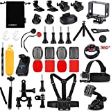 Luxebell 17-in-1 Ski Accessories Bundle Kit for Gopro Hero 4 Black Silver 3+ 3 Camera and Sjcam Sj4000 Sj5000 - Chest Harness / Floating Grip / Tripod Stand / Frame Mount / Head Strap / Monopod