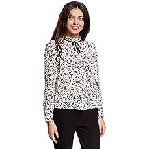 oodji Ultra Damen Bluse mit Dekorativer Schleife und Rüschen am Kragen d34409501e