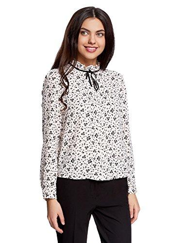 oodji Ultra Damen Bluse mit Dekorativer Schleife und Rüschen am Kragen, Elfenbein, DE 42 / EU 44 / XL