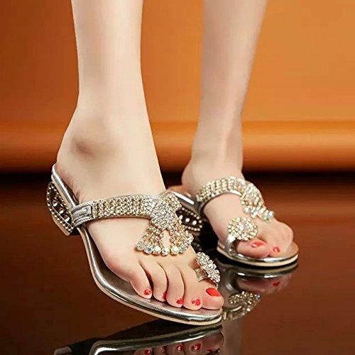 ZYUSHIZ Synthetischer Diamant Sandalen Western mit Sandalen, flache Unterseite die Parteien der Freizeitaktivitäten Frau 37EU