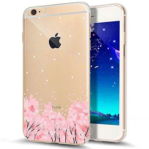 iPhone 7 Plus Hülle,iPhone 7 Plus 2016 Hülle,JAWSEU Luxus Gold Klare Ultradünne Silikon Gel Schutzhülle Durchsichtig Kristall Transparent TPU Silikon Bumper Schutz Handyhülle Case Tasche Etui für iPho Kirschblüte#11