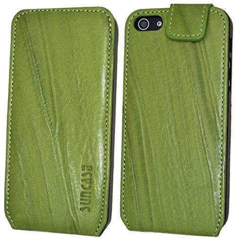 iPhone se   iPhone 5S   Suncase Original Étui à rabat style en cuir * Cuir véritable * Wash Grün