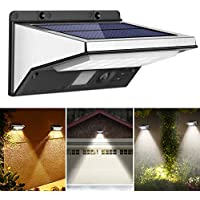 OUSFOT Outdoor Lights Solar Powered Waterproof 3 Modes Security Lights with Motion Sensor Wall Light 21 LED Stainless Steel Lighting for Yard