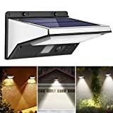 OUSFOT Luz Solar LED Exterior Foco Solar con Sensor de Movimiento Impermeable 3 Modos Gran Ángulo 120º de Iluminación 2200mAh Lámparas Solares para Jardín Muros Exteriores