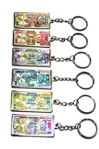 Keychain Rupee Currency Notes Immitation Set of 6 accessories for Car Bike House Office Key Holder Best Quality Gift by Tech Fashion-TF-466