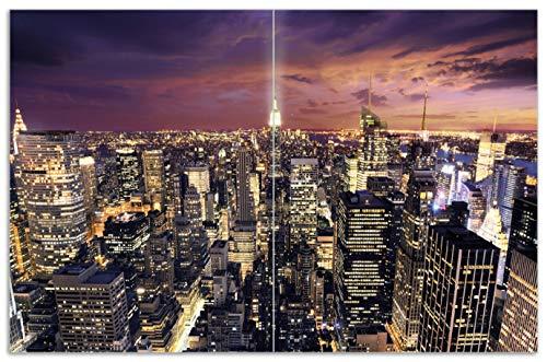 Wallario Herdabdeckplatte/Spritzschutz aus Glas, 2-teilig, 80x52cm, für Ceran- und Induktionsherde, Motiv New York bei Nacht - Panoramablick über die Stadt