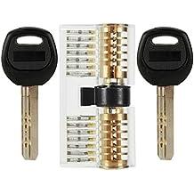 YOEEKU Perfil Cilindro Cerradura Cerradura Picking Cerraduras Candados Cilindro de ejercicio con 2 llaves durables para cerrajero Arrancador