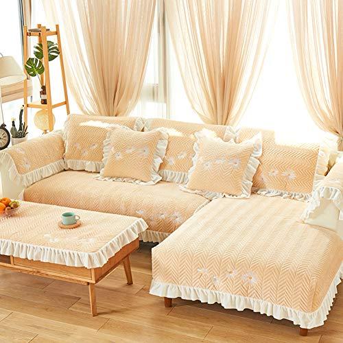 MSM Bestickt Sofa Überwürfe, Gesteppter Daisy Winter Warme Plüsch Couch Geldklammer Schonbezug für stück verkauft-Creme Farben 35x28inch (Sofa Schonbezug Creme)