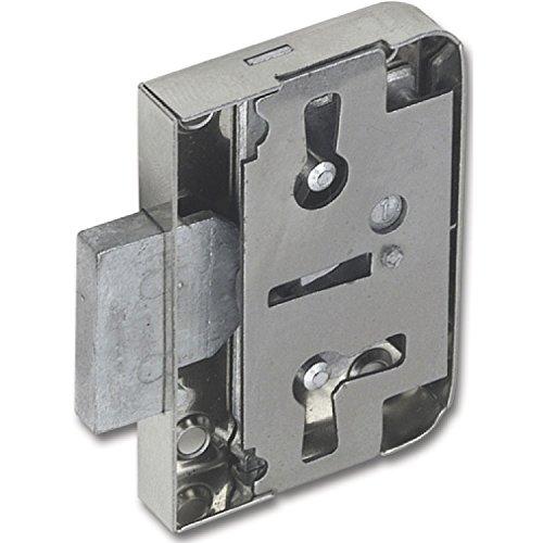SECOTEC Möbel-Anschlag-Schloss Dornmaß 20 mm mit Euroschlüssel; hochwertiger Stahl vernickelt; inkl. Schlüssel, Anschraubwinkel und Befestigungsschrauben, 1 Stück