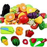 #5: Babytintin Pretend Food Kitchen Play Set for Kids Cutting Fruits and Vegetables and Play Food Kitchen Toys Pizza Toy Set Educational Toy