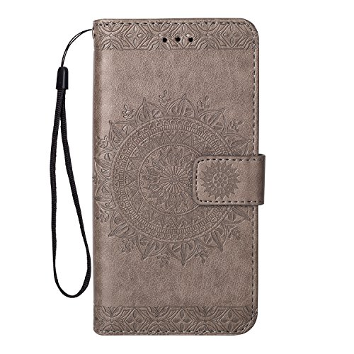 Yobby Leder Brieftasche Hülle für Samsung Galaxy S9, Grau Handyhülle Geprägt Mandala Muster Schlank Premium PU Flipcase [Magnetverschluss] mit Kartenfach Handschlaufe Stand Schutzhülle -