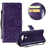 Gurt Brieftasche für LG V40,Lila Handyhülle für LG V40,Moiky Ziemlich Schöne Mandala Sonnenblume Geprägt Klappbar Kartenfächer Stoßdämpfende Ledertasche mit Stand
