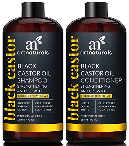 ArtNaturals Schwarzes Rizinusöl Shampoo und Conditioner - (2 x 16 Fl Oz / 473ml) - Set mit Black Castor Oil aus Jamaika - Für Trockenes, Brüchiges, Dichtes, Lockiges und Gefärbtes Haar - Sulfat Frei