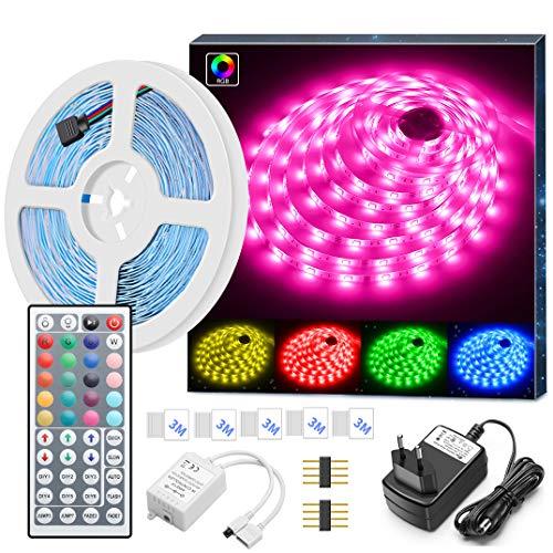 Minger 5m LED Strip LED Streifen RGB SMD 5050 Farbwechsel Led Band Lichtband mit 44-Tasten IR Fernbedienung und 2A Netzteil LED Lichtleiste für die Beleuchtung von Haus, Küche, Weihnachtsdekoration