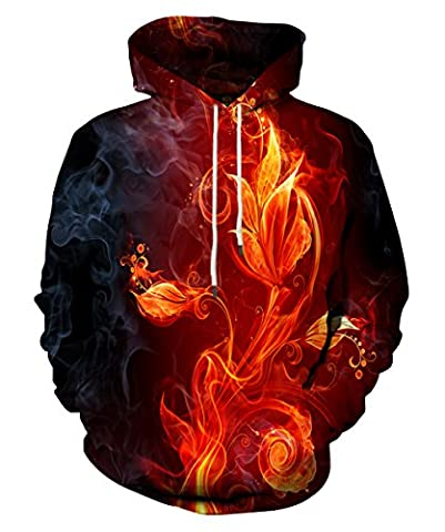 EOWJEED Unisex Couple 3D Galaxy Print Pullover Hoodie Sweatshirt à capuche XX-Large