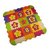 Menu Life Numeri ML004 En mousse tapis de jeu Interlocking EVA Doux Jigsaw Tapis Puzzle En mousse Bébé Enfant Aire de jeux Mats Yoga d'exercice (32 x 32 x 1cm, 9pcs Jouer Mats avec Clôtures)