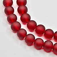 1 Strang 8mm ca.106 Stück dunkelrot Glasperlen Glas beads rund DIY basteln rot