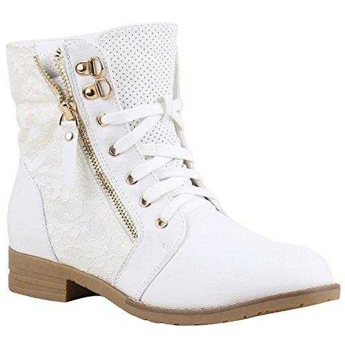 Stylische Damen Stiefeletten Worker Boots Knöchelhohe Stiefel Gesteppt Damen Leder-Optik Zipper Ketten Schuhe 134634 Weiss 38 ()
