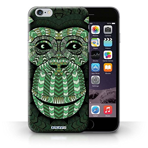Hülle für iPhone 6+/Plus 5.5 / Wolf-Purpur / Aztec Tier Muster Kollektion Affe-Grün