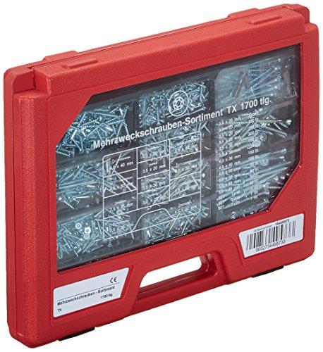 SECOTEC Mehrzweckschrauben-Sortiment | Schrauben Sortimentsbox mit SPS | 1700-teilig | Koffer: rot | Schrauben: blau verzinkt