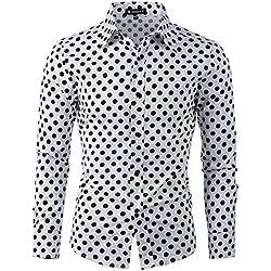 Allegra K Camisa De Lunares Para Hombres Mangas Largas Ajuste Delgado - Blanco/L (US 42, EU 52)