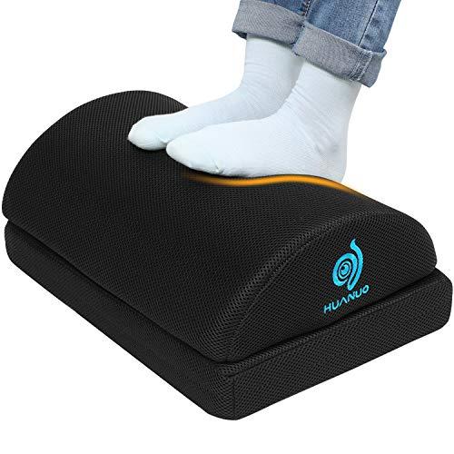 HUANUO Verstellbare Fußstütze mit 2 optionalen Fußkissen, rutschfeste Fußablage für Büro, Zuhause, Reise