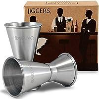 Double Jigger set by Barvivo. Misura liquore con fiducia come un barman professionale. Un elemento essenziale of your home bar kit,, realizzato in acciaio INOX con finitura spazzolata, tiene fino a 28,3gram/14,2gram