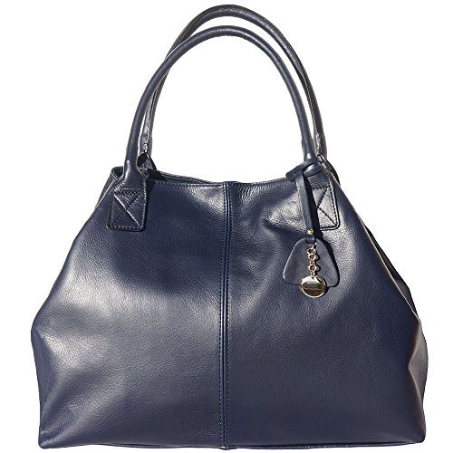 BORSA SHOPPING IN VERA PELLE DI VITELLO 3015 Blu scuro