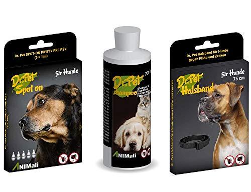 Dr Pet Hunde Spot-On + Halsband + Shampoo gegen Flöhe Zecken Floh Schutz Mittel