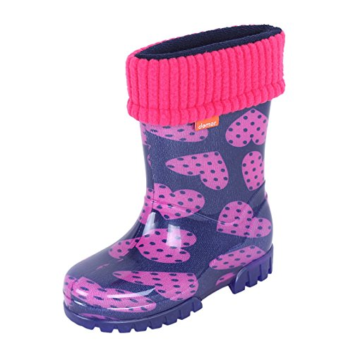 Demar Girls Wellington Boots Rain Snow Wellies PVC Liners Purple Pink Hearts