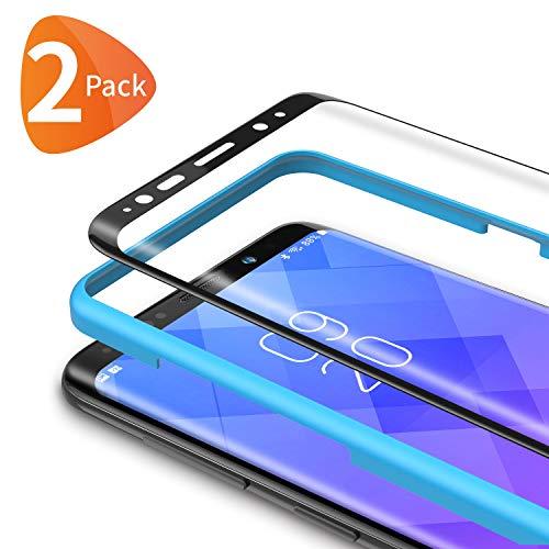 Bewahly für Panzerglas Schutzfolie für Samsung Galaxy S8 Plus [2 Stück], 3D Curved Panzerglasfolie Ultra Dünn HD Bildschirmschutzfolie 9H Folie mit Installation Werkzeug für Samsung S8 Plus - Schwarz