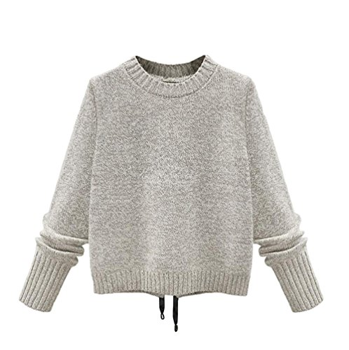 WanYang Femmes Casual Manches Longues Col Pull Sweater Pull En Tricot Tops Beige