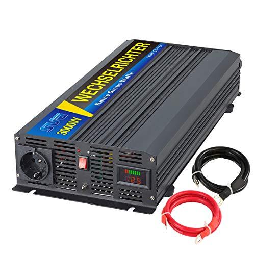 Sug 3000W DC 12V auf AC 220V 230V Wechselrichter Reiner Sinus Spitzenwert 6000W Spannungswandler mit LED-Bildschirm