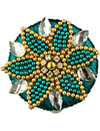 Anusia Bangle House Blue & Gold Fabric Saree Pin For Women (AB053)