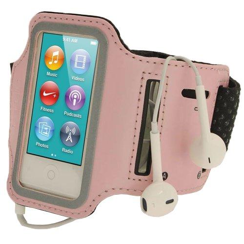 igadgitz Pink Rosa Reflektierende Anti-Rutsch Neopren Sports Armband Oberarmtasche Tasche Schutz Hülle Etui Case für Apple iPod Nano 7. Generation 16GB 7G - 16 Ipod Nano 3. Gb Generation
