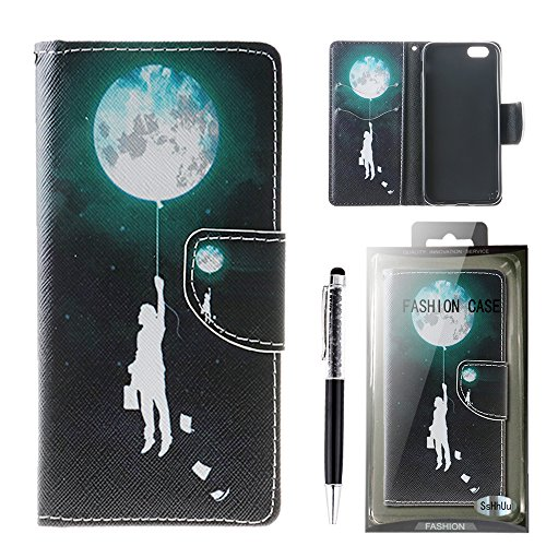 iPhone 6 Plus Custodia, SsHhUu Lusso Stylish MagneticoStand Card Slot PU Leather Flip Protettivo Portafoglio Slim Cover Case + Stylus Pen per Apple iPhone 6 Plus / iPhone 6s Plus 5.5 Balloon Luna