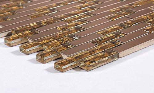 10cm x 10cm Muster Glas und gebürstet Edelstahl Mosaik Wand Fliesen Blatt Gold und Kupfer (MT0169 Muster) - Kupfer-mosaik-glas
