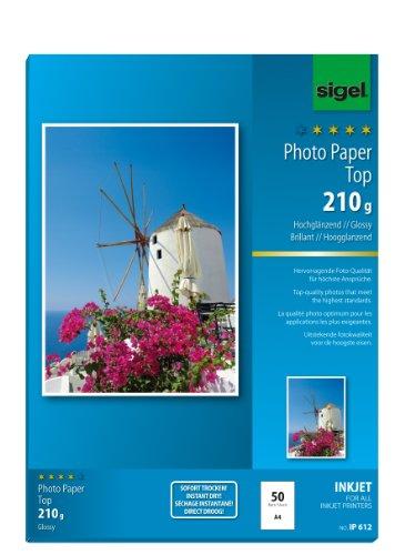 SIGEL IP612 InkJet Fotopapier Top, A4, 50 Blatt, hochglänzend, hochweiß, 210 g - auch mit 20 Blatt