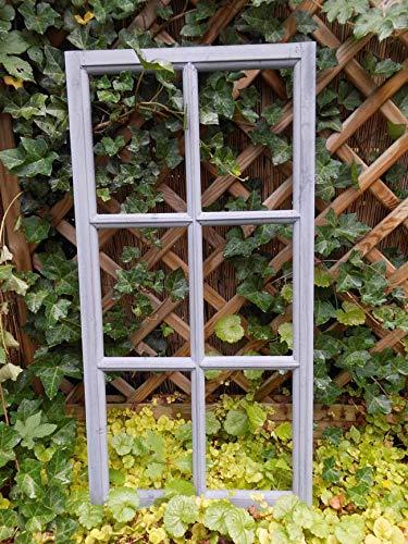 Deko-Impression Fenster Sprossenfenster Bilderrahmen Wanddekoration Holz grau 85 x 43