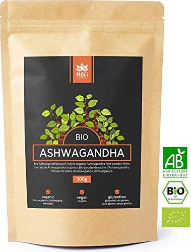 Holi Natural® Premium BIO Ashwagandha Wurzel Pulver - 500g und 250g - ECHTE Indische Withania Somnifera aus kontrolliert biologischem Anbau - im biologisch abbaubaren wiederverschließbaren Beutel -