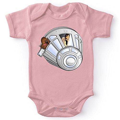 Star Wars Lustiges Pink Baby Strampler (Mädchen) - Han Solo und Chewbacca (Star Wars Parodie) (Ref:635)