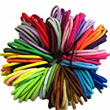 HKFV Amazing Superb Great Elasticity Charming Color 50PC Thick Endless Snag Free Hair Elastics Bobbles Bands (Multicolor)