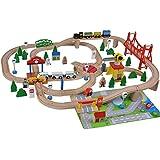 Holzeisenbahn De Luxe - 100 Teile mit Spielmatte