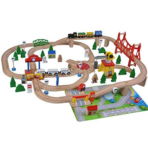*Holzeisenbahn De Luxe – 100 Teile mit Spielmatte*