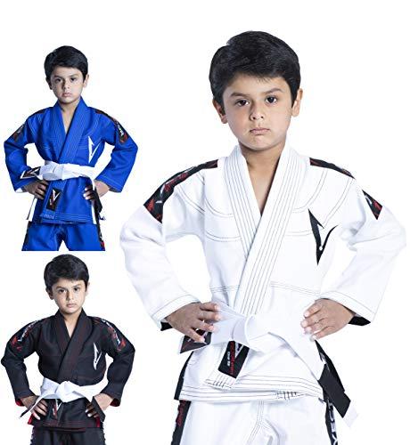 Vector Kids Brazilian Jiu Jitsu (BJJ) Gi mit gratis weißem Gürtel, 100% Baumwolle, Pearl-Weave-gewebter Kimono, ultra leicht, vorgeschrumpft, weiß, K4 -