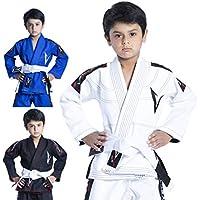 Vector Kids Brazilian Jiu Jitsu (BJJ) Gi mit gratis weißem Gürtel, 100% Baumwolle, Pearl-Weave-gewebter Kimono, ultra leicht, vorgeschrumpft