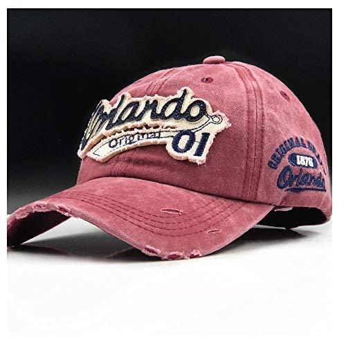 HUACHEN Baumwollkappe Baseballmütze Sommerkappe Hip Hop Ausgestattet Mütze Hüte Outdoor-Hüte (Farbe : Weinrot, Größe : 56-60CM) - Ausgestattet Print Cap