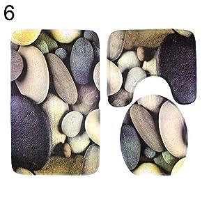 y.ite 3-teiliges Set Kieselsteine, Badezimmerteppich/WC-Vorleger, rutschfeste Bodenmatte - 6